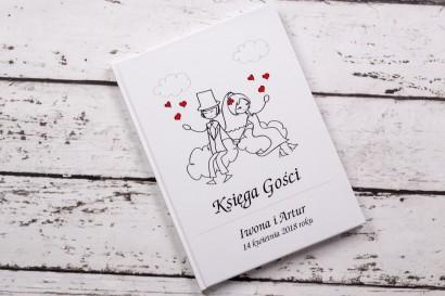 Księga Gości z kolekcji Bueno nr 3 - Rysunek zakochanej Pary Młodej dryfującej w chmurach