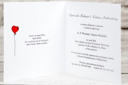 Wnętrze zaproszenia ślubnego Bueno nr 4 - Tańcząca Para Młoda w wersji rysunkowej w nieformalnym stylu