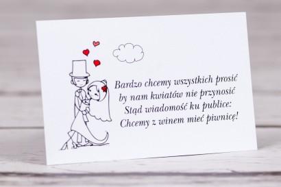 Bilecik do zaproszenia ślubnego Bueno nr 4 - Tańcząca Para Młoda w wersji rysunkowej w nieformalnym stylu