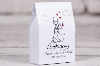 Ślubne pudełeczko na słodkości dla gości weselnych Bueno nr 4 - Tańcząca Para Młoda w wersji rysunkowej w nieformalnym stylu