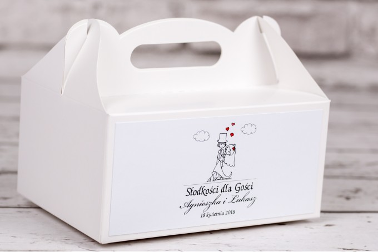 Pudełko prostokątne na ciasto weselne Bueno nr 4 - Tańcząca Para Młoda w wersji rysunkowej w nieformalnym stylu
