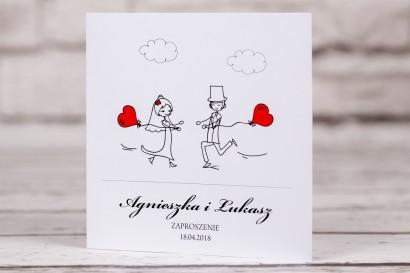 Zaproszenia ślubne Bueno nr 5 - Rysunek Pary Młodej z czerwonymi balonikami biegnącej w swoje objęcia - okładka