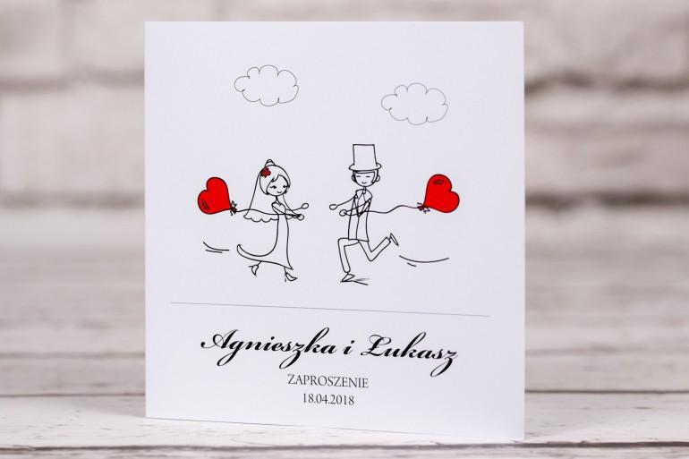 Zaproszenia ślubne Bueno Nr 5 Para Młoda Z Czerwonymi Balonikami