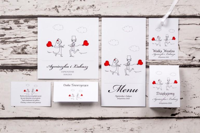 Zestaw próbkowy zaproszeń ślubnych z kolekcji Bueno nr 5 - Rysunek Pary Młodej z czerwonymi balonikami biegnącej w swoje objęcia