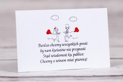 Bilecik do zaproszenia ślubnego z kolekcji Bueno nr 5 - Rysunek Pary Młodej z czerwonymi balonikami biegnącej w swoje objęcia