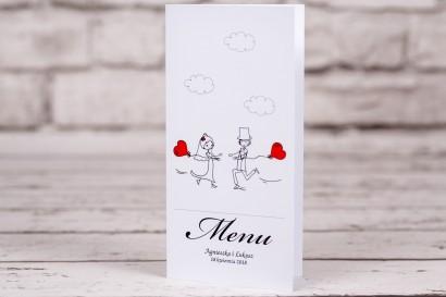 Menu ślubne, weselne z kolekcji Bueno nr 5 - Rysunek Pary Młodej z czerwonymi balonikami biegnącej w swoje objęcia