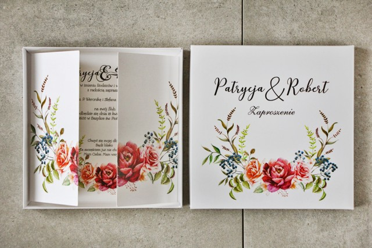 Efektowne Zaproszenie ślubne w pudełku - Pistacjowe nr 11 - Chłodny bukiet z bordowymi różami