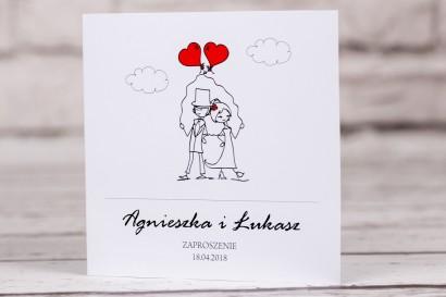 Zaproszenia ślubne z kolekcji Bueno nr 6 - Para Młoda z czerwonymi balonami w nieformalnym stylu rysunkowym
