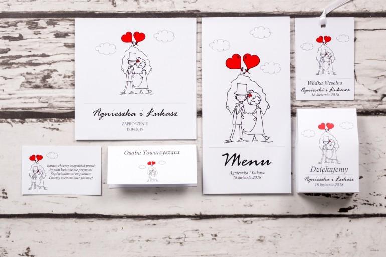 Zestaw próbkowy zaproszeń ślubnych z kolekcji Bueno nr 6 - Para Młoda z czerwonymi balonami w nieformalnym stylu rysunkowym
