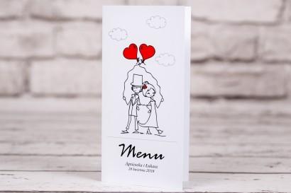 Menu weselne, ślubne z kolekcji Bueno nr 6 - Para Młoda z czerwonymi balonami w nieformalnym stylu rysunkowym