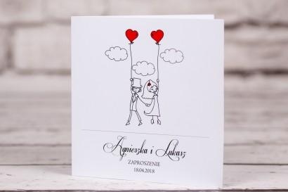 Zaproszenia ślubne z kolekcji Bueno nr 7 - Rysunek w zabawnym stylu z Parą Młodą niesioną przez wiatr z czerwonymi balonikami