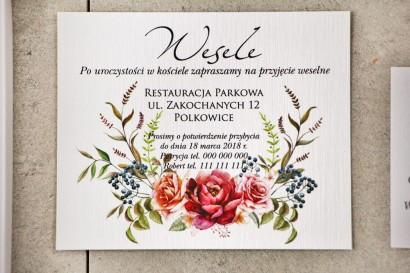 Bilecik do zaproszenia 120 x 98 mm prezenty ślubne wesele - Pistacjowe nr 11 - Bordowe róże w chłodnej kompozycji