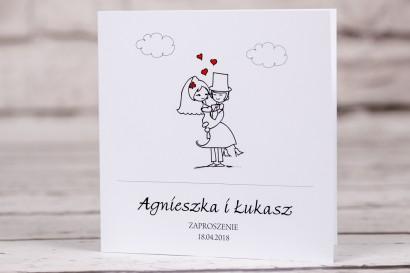 Zaproszenia ślubne z kolekcji Buenor nr 8 - Rysunkowa zakochana para w objęciach miłości
