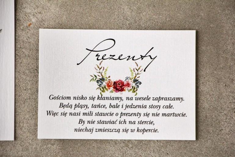 Bilecik do zaproszenia 105 x 74 mm prezenty ślubne wesele - Pistacjowe nr 11 - Chłodny bukiet róż bordo