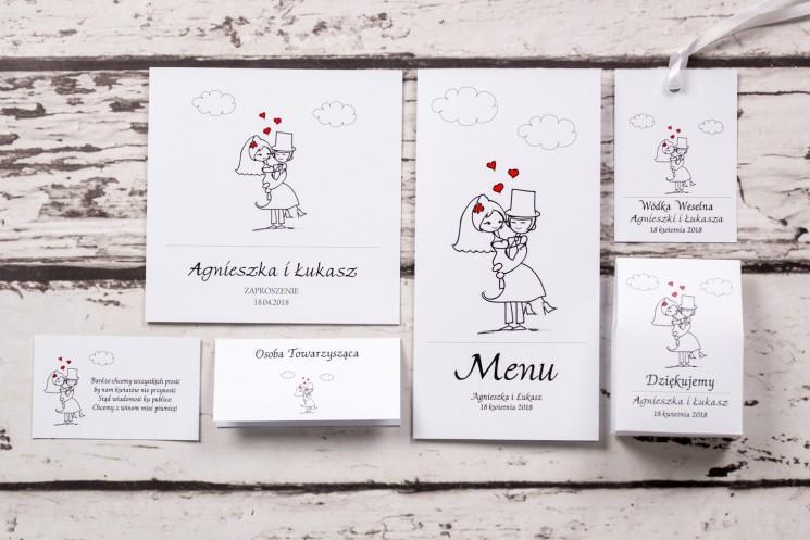 Zestaw próbny zaproszeń ślubnych kolekcji Bueno nr 8 - Rysunkowa zakochana para w objęciach miłości