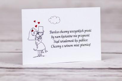 Bilecik do zaproszenia ślubnego z kolekcji Bueno nr 8 - Rysunkowa zakochana para w objęciach miłości