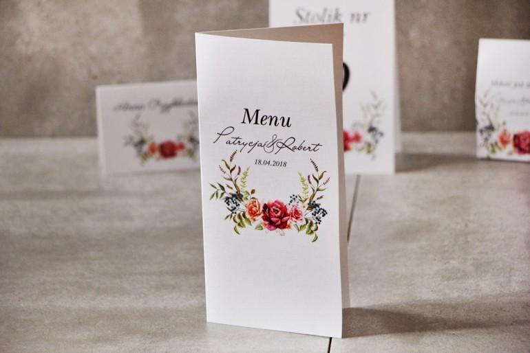 Menu weselne, ślub, stół weselny - Pistacjowe nr 11 - Bordowe chłodne róże