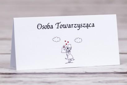 Winietki, wizytówki na stół weselny z kolekcji Bueno nr 8 - Rysunkowa zakochana para w objęciach miłości