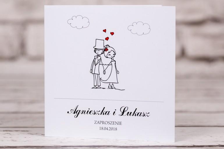 Zaproszenia ślubne z kolekcji Bueno nr 9 - Rysunek Pary Młodej trzymającej się za ręce z delikatnym akcentem serduszek
