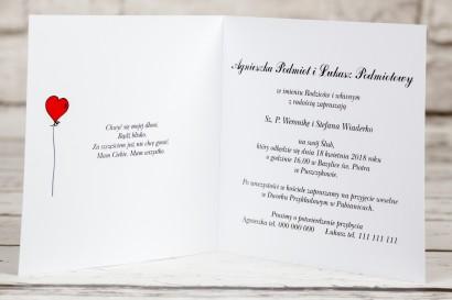 Wnętrze zaproszeń ślubnych z kolekcji Bueno nr 9 - Rysunek Pary Młodej trzymającej się za ręce z delikatnym akcentem serduszek