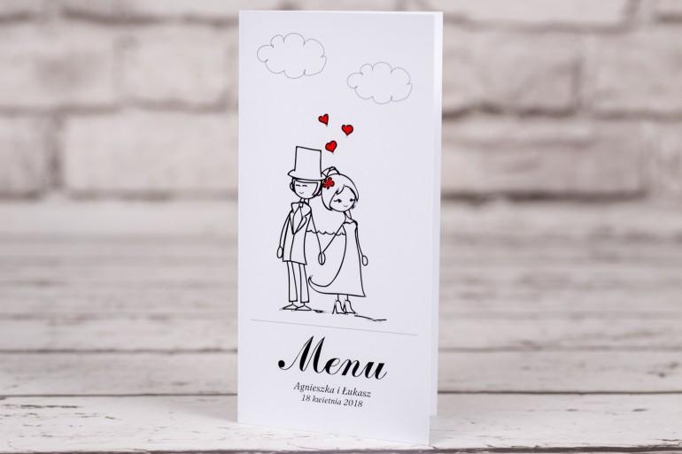 Menu ślubne z kolekcji Bueno nr 9 - Rysunek Pary Młodej trzymającej się za ręce z delikatnym akcentem serduszek