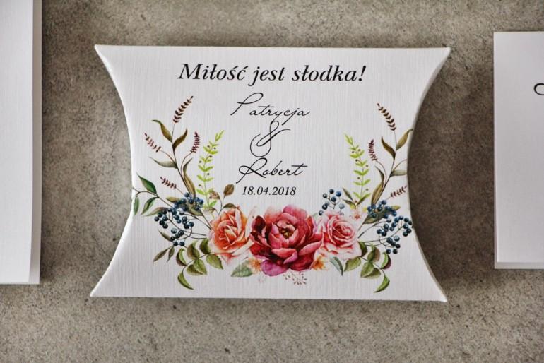 Pudełeczko poduszeczka na cukierki, podziękowania dla Gości weselnych - Pistacjowe nr 11 - Róże z barwach bordo i pomarańczy