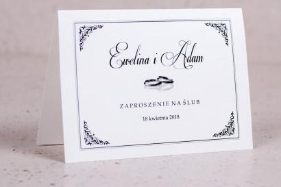Zaproszenia ślubne Arte - Elegancki wzór z delikatną ramką i motywem obrączek