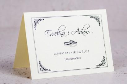 Zaproszenia ślubne Arte nr 4 - Elegancki wzór z delikatną ramką i motywem obrączek w wersji ecru
