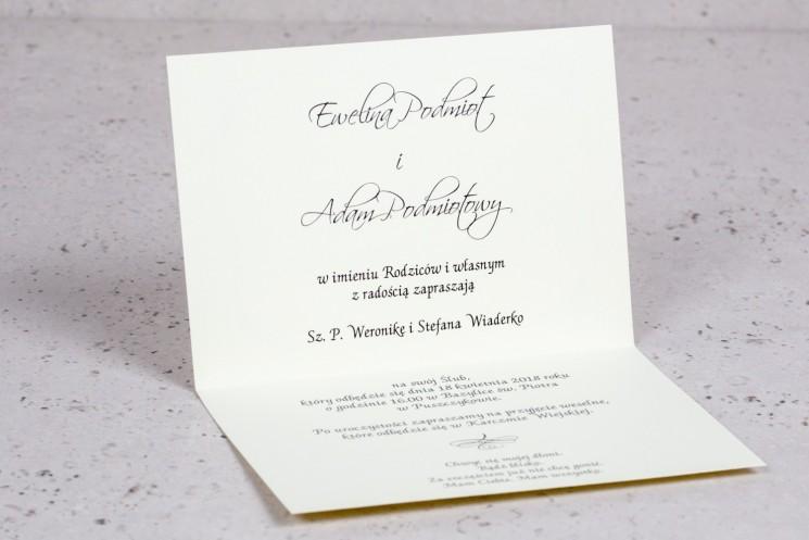 Wnętrze zaproszenia ślubnego Arte nr 4 - Elegancki wzór z delikatną ramką i motywem obrączek w wersji ecru