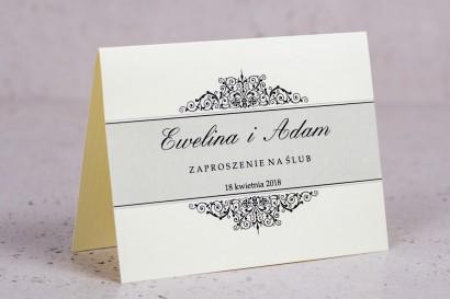 Zaproszenia ślubne Arte nr 6 - Klasyczny wzór z eleganckim zdobieniem w wersji ecru