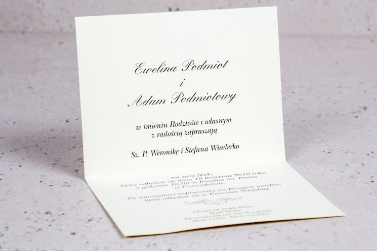 Wnętrze zaproszenia ślubnego Arte nr 6 - Klasyczny wzór z eleganckim zdobieniem w wersji ecru