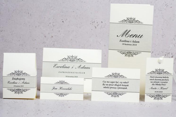 Zestaw próbny zaproszeń ślubnych Arte nr 6 - Klasyczny wzór z eleganckim zdobieniem w wersji ecru