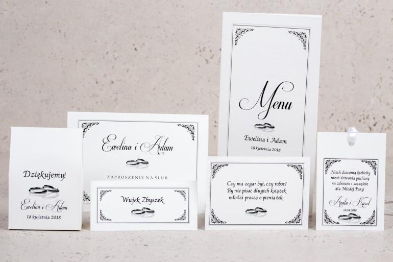 Zestaw próbny zaproszeń ślubnych Arte nr 3 - Elegancki wzór z delikatną ramką i motywem obrączek