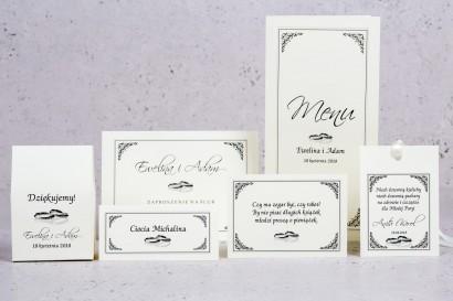 Zestaw próbny zaproszeń ślubnych Arte nr 4 - Elegancki wzór z delikatną ramką i motywem obrączek w wersji ecru