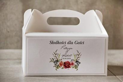 Prostokątne pudełko na ciasto, tort weselny, Ślub - Pistacjowe nr 11 - Róże w chłodnych barwach bordo i zieleni