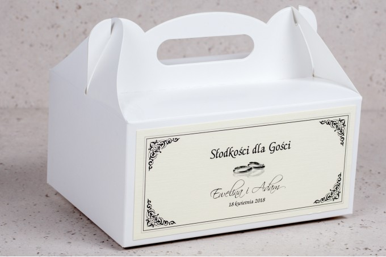 Pudełko na Ciasto weselne, ślubne prostokątne Arte nr 4