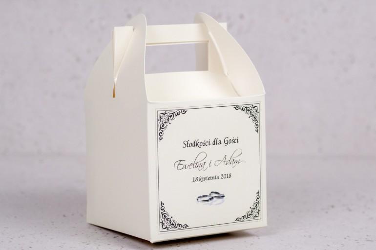 Pudełko kwadratowe na ciasto weselne, ślubne z kolekcji Arte nr 4