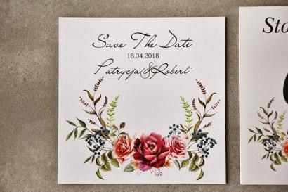 Bilecik Save The Date do zaproszenia - Pistacjowe nr 11 - Bordowe róże w chłodnej kompozycji