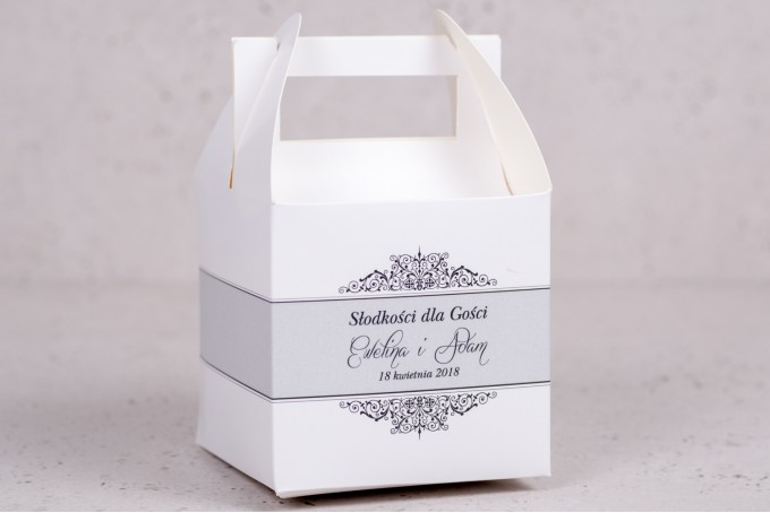 Pudełko kwadratowe na ciasto weselne, ślubne z kolekcji Arte nr 4 - kolor biały