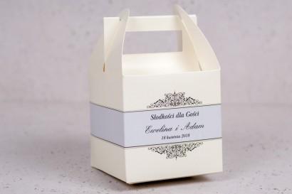 Pudełko kwadratowe na ciasto weselne, ślubne z kolekcji Arte nr 6 - kolor ecru