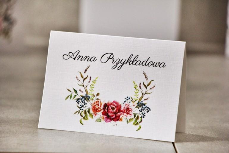 Winietki na stół weselny, ślub - Pistacjowe nr 11 - Róże w chłodnych barwach bordo i zieleni