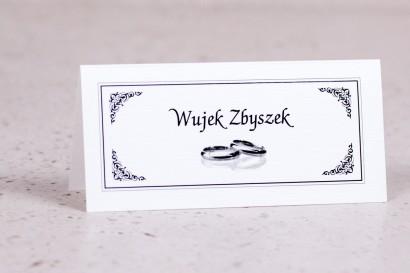Winietki, wizytówki na stół z kolekcji Arte nr 3 - Elegancki wzór z delikatną ramką i motywem obrączek