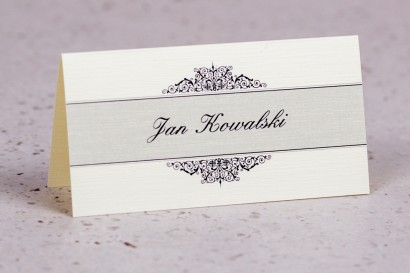 Winietki, wizytówki na stół z kolekcji Arte nr 5 - Klasyczny wzór z eleganckim zdobieniem - wersja ecru