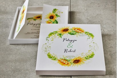 Efektowne Zaproszenie ślubne w pudełku - Pistacjowe nr 13 - Żółte letnie słoneczniki