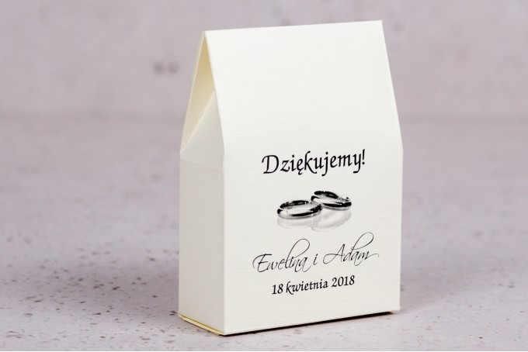 Ślubne pudełeczko na słodkości dla gości weselnych z kolekcji Arte nr 4 - Elegancki wzór z delikatną ramką i motywem obrączek