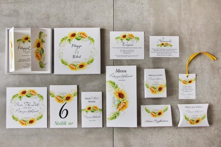 Efektowne zaproszenie ślubne w pudełku z dodatkami - Pistacjowe 13 - Żółte letnie słoneczniki