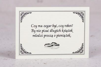 Bilecik do zaproszenia ślubnego z kolekcji Arte nr 4 - Elegancki wzór z delikatną ramką i motywem obrączek - wersja - ecru