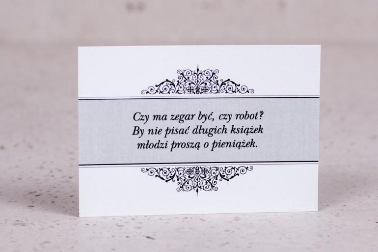 Bilecik do zaproszenia ślubnego z kolekcji Arte nr 5 - Klasyczny wzór z eleganckim zdobieniem