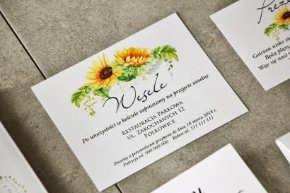 Bilecik do zaproszenia 120 x 98 mm prezenty ślubne wesele - Pistacjowe nr 14 - Letnie słoneczniki z polna trawą