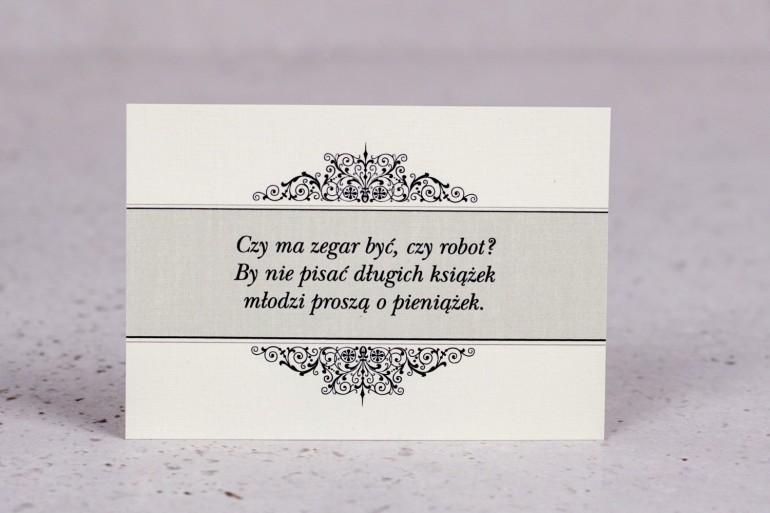 Bilecik do zaproszenia ślubnego z kolekcji Arte nr 6 - Klasyczny wzór z eleganckim zdobieniem - wersja ecru